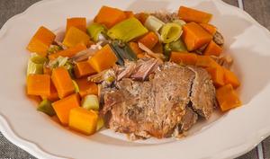 Confit de porc aux patates douces et poireaux