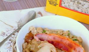 Crozets aux cèpes, crème fraîche et poitrine fumé