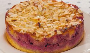 Gâteau à la polenta, à la ricotta et aux framboises