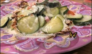 Gratin courgettes aux dès de jambon et béchamel