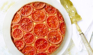 Tarte orange sanguine et fève tonka