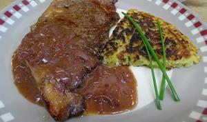Faux filets boeuf maturé, sauce vigneronne et galette de pommes de terre ciboulette