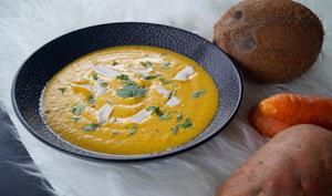 Velouté de patate douce carottes poireaux coco