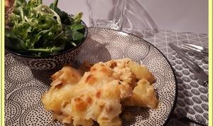 Gratin de pommes de terre, poulet rôti et Mozzarella