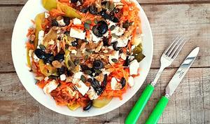 Salade poireaux, carottes et feta
