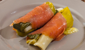 Salade de poireaux à la truite fumée