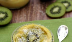 Flan au coco et kiwi