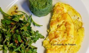 Salade de pissenlits, omelette et purée à la spiruline