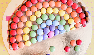 Gâteau arc-en-ciel chocolat & Smarties
