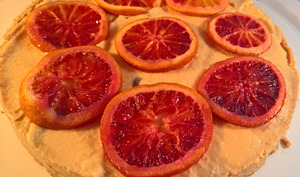 Tarte Orange sanguine et fève Tonka