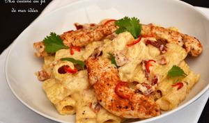 Chicken Rig'n cheese - Pâtes rigatoni et poulet au fromage, tomates séchées et piment