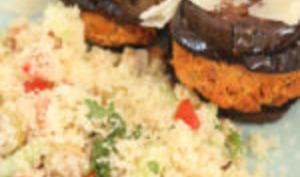 Taboulé et son burger d'aubergine au tofu rosso