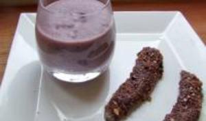 Aiguillettes de Canard aux Noisettes et Cacao, Espuma de Vitelotte au Vin Rouge