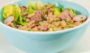 Salade de flageolets au jambon et radis