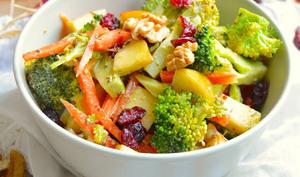 Salade crue au brocoli, carotte, pomme, noix et cranberries