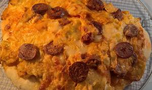 Focaccia poireaux, chorizo et gruyère