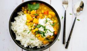 Curry vert de pois chiches au lait de coco