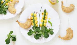Fleurs de mimosa et ses crackers à l'huile d'olive