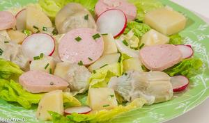 Salade de pommes de terre au cervelas et artichauts