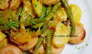 Poêlée de pommes de terre, haricots et boudin