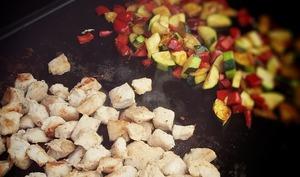 Dinde marinée au sirop d'érable et légumes du soleil
