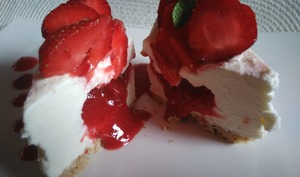 Cheescake coeur coulant aux fraises
