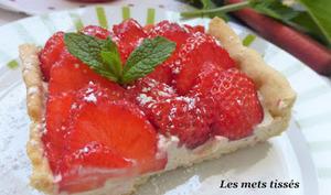Tarte aux fraises et crème de pistache au mascarpone