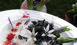 Tourteau, salade de sauvageonnes, émulssion de kéfir de lait à l'ail des ours