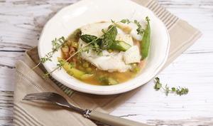 Cabillaud basse température en ragoût d'asperges et petits pois