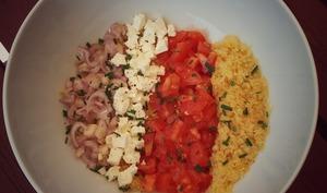Salade de lentilles corail, tomates et feta