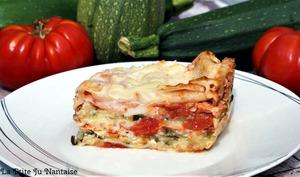 Lasagnes courgettes, tomates, saumon et chèvre