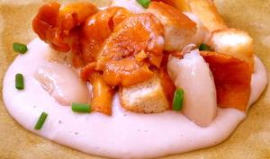 Girolles et crémeux d'haricots tarbais au foie gras
