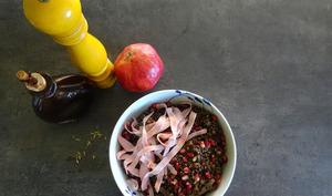 Salade tiède de lentilles à la mortadella pistachée d'Alba Pezone
