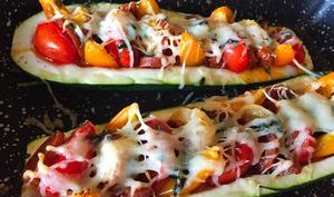 Courgettes au chorizo façon pizza