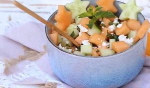 Salade de concombre et melon à la feta
