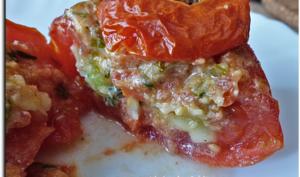 Tomates farcies aux ravioles et pesto à la tomate