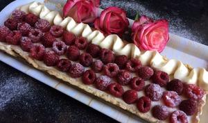 La tarte chocolat blanc et framboises