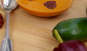 Velouté courgette-poivron-chorizo