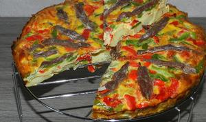 Tarte aux oeufs légumes du sud et anchois