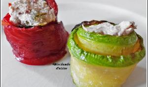 Roulés de courgettes et poivrons aux rillettes de thon
