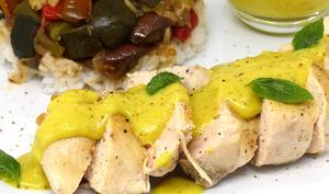 Filets de poulet, sauce au curry