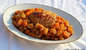 Rôti de dinde aux pommes de terre et carottes