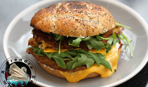 Hamburger topinambours fromages roquette
