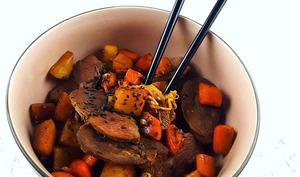 Wok de canard laqué aux légumes