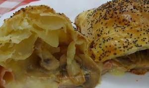 Feuilletés au camembert, jambon et champignons