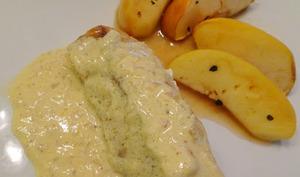 Dos de cabillaud sauce moutarde et pommes épicées