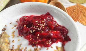 Porridge de petit épeautre au potiron, sucrine du Berry et cranberries vegan