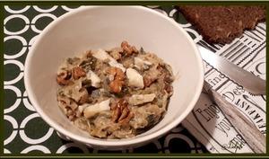 Fondue de poireaux au Gorgonzola et noix