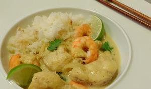 Curry de lotte au lait de coco et citron vert