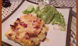 Tortilla de pommes de terre, raclette, bacon